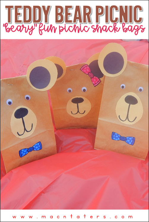 Teddy Bear Picnic Snack Bags Great for a book club, National Teddy Bear Day and National Teddy Bear Picnic Day