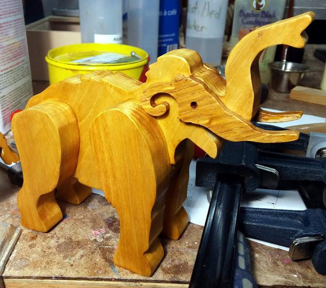 Handmade Wooden Toy Mammoth