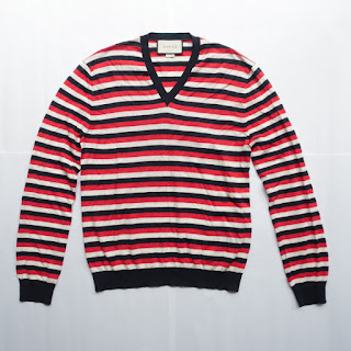 Gucci Mens Striped V-Neck Sweater