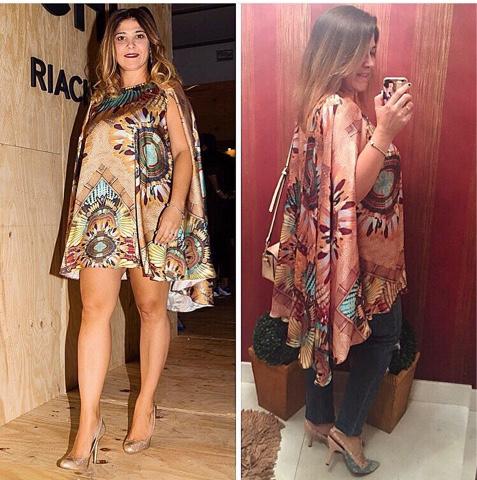 609408aeba82 Aqui o vestido capa mudou o look com a calça jeans, mesmo que o vestido  tenha uma estampa marcante, mudou o estilo.