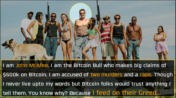 Bitcoin's Biggest Promoter McAfee, Is an Accused Rapist and Murderer