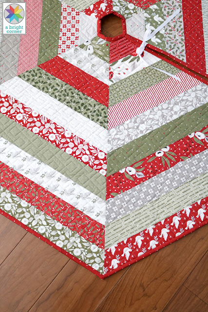 Holly Jolly Tree Skirt Pattern by A Bright Corner - three sizes and Jelly Roll option now available
