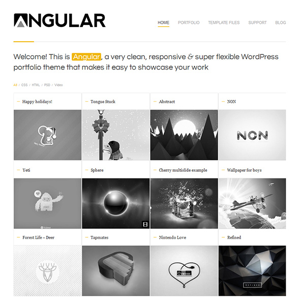 Angular Grid Based WordPress Theme