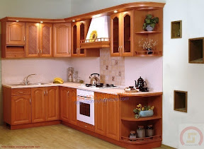 Kệ bếp gỗ sồi nga