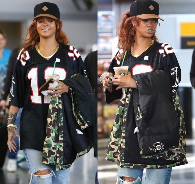 Rihanna in Falcons Jersey, Prada Clogs
