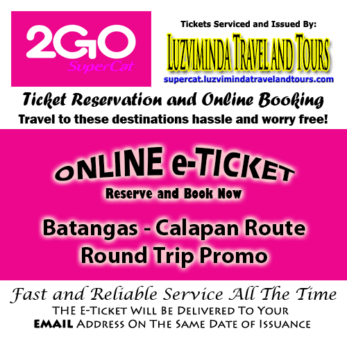 2Go SuperCat Batangas-Calapan Round Trip Promo Ticket Reservation and Online Booking