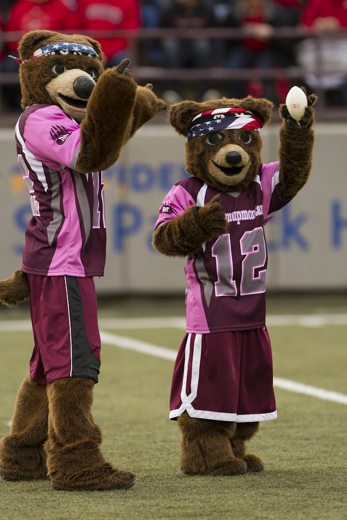 Monte and Lil' Mo toss mini footballs to the 25,684 fans in attendance at Saturday's game.  The Southern Utah Thunderbirds handed the Griz their fourth loss of the season, 30-20.Washington-Grizzly Stadium in Missoula, Mont., October 13th.