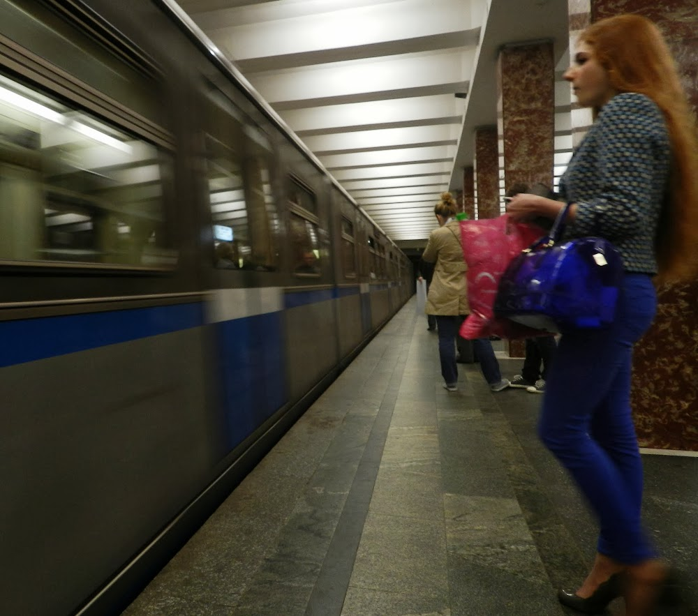 A hot Russian babe waits to board the train...