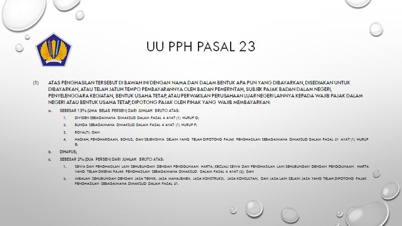 contoh jurnal dan cara menghitung pph pasal 23