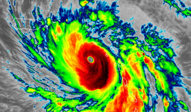 Infrared GOES-16 satellite image of Hurricane Maria as of 10:51 am EDT Tuesday, 19 September 2017. Photo: RAMMB / CIRA@CSU