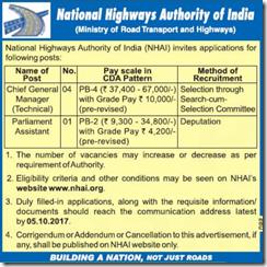 NHAI Notification 2017 www.indgovtjobs.in