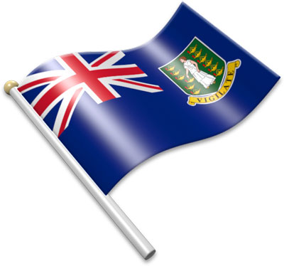 The British Virgin Island  flag on a flagpole clipart image