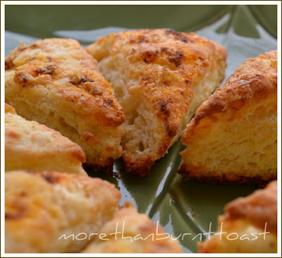 more than burnt toast: Cheddar, Parmesan, and Cracked Pepper Scones