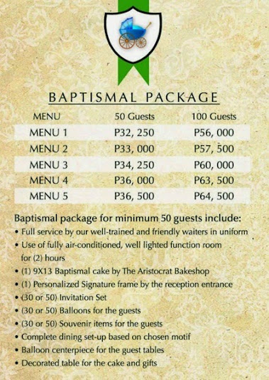 products, food, kiddie party package, baptismal party packages
