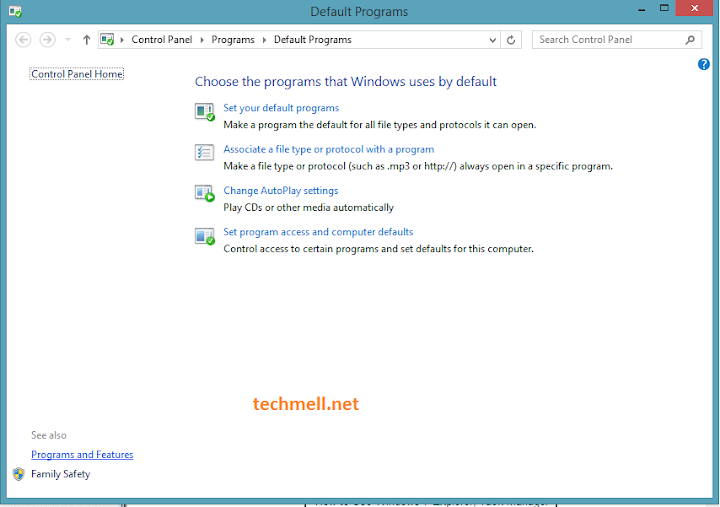 Default Programs Menu Windows 8.1