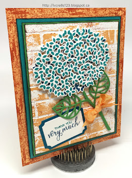 Linda Vich Creates: Thoughtful Branches Thank You. A lovely hydrangea blossom from Thoughtful Branches, in shades of Bermuda Bay and Island Indigo, rests against a grungy, Peekaboo Peach brick background.