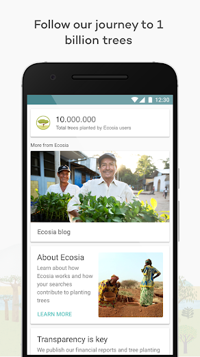 Screenshot 2 for Ecosia's Android app'