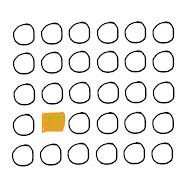 Cuadrado anaranjado feliz entre muchos círculos iguales.