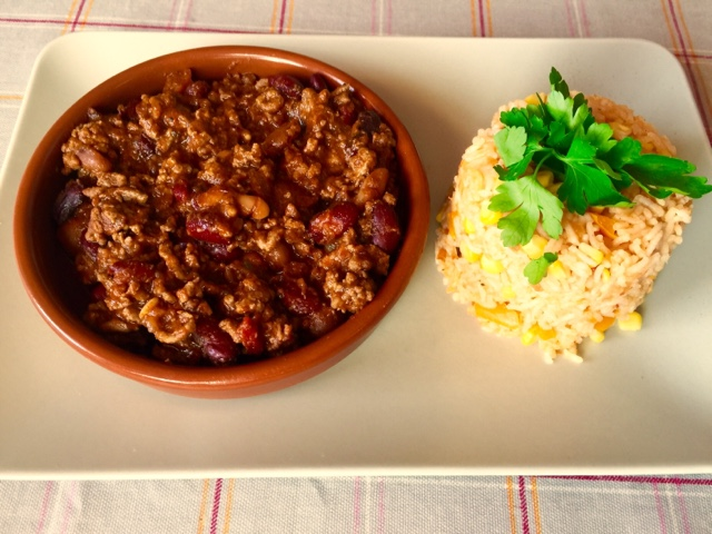 Chilli con carne and tomato and lime rice