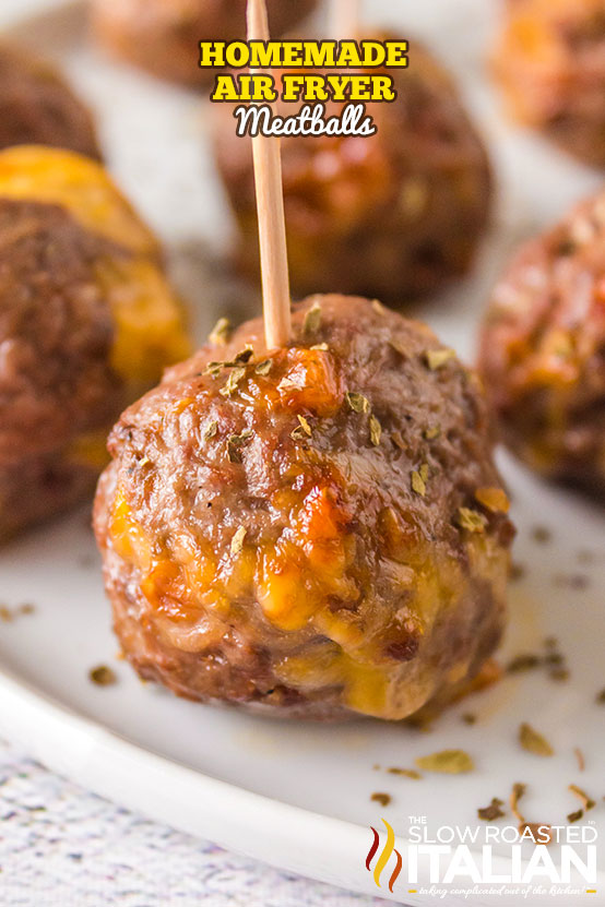 Homemade Air Fryer Meatballs with toothpicks for serving