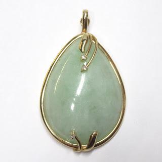 14K Gold, Jade & Diamond Pendant