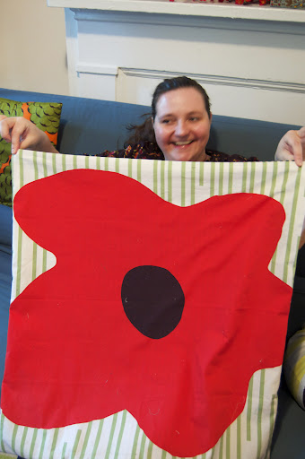 Jennifer created a floor pillow out of this poppy fabric.