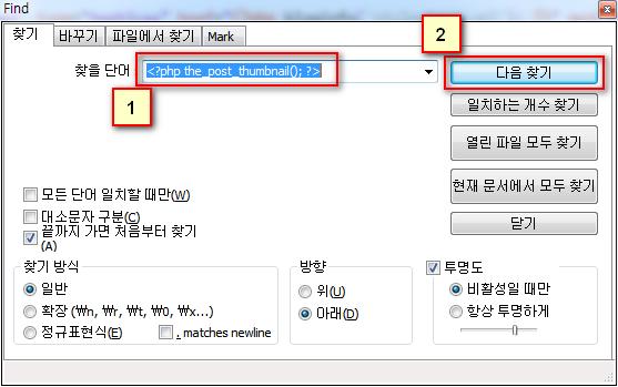 Notepad++에서 <\?php the_post_thumbnail(); ?> 검색하기