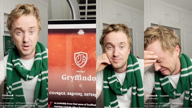 Tom Felton faz novo teste das Casas de Hogwarts e é selecionado para Grifinória