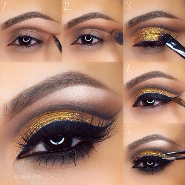 Brown eyes and gold eyeshadow are a absolute compliment. The gold eyeshadow will accent and accomplish your amber eyes shine.