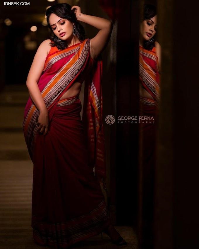 South Indian Actress Nandita Swetha Red Hot Saree Stills.
