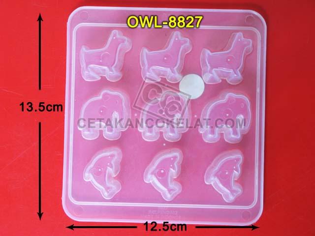 Cetakan Coklat cokelat hewan binatang gajah lumba-lumba OWL8827 owl 8827