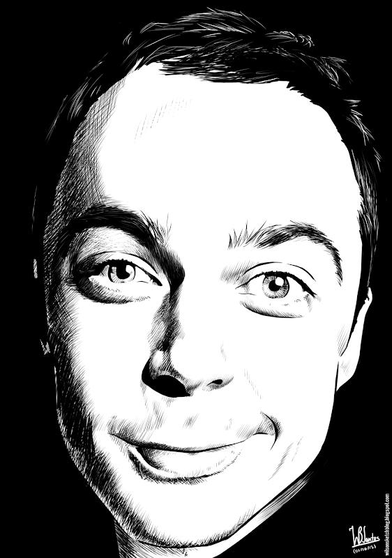 Ink drawing of Jim Parsons, using Krita 2.4.
