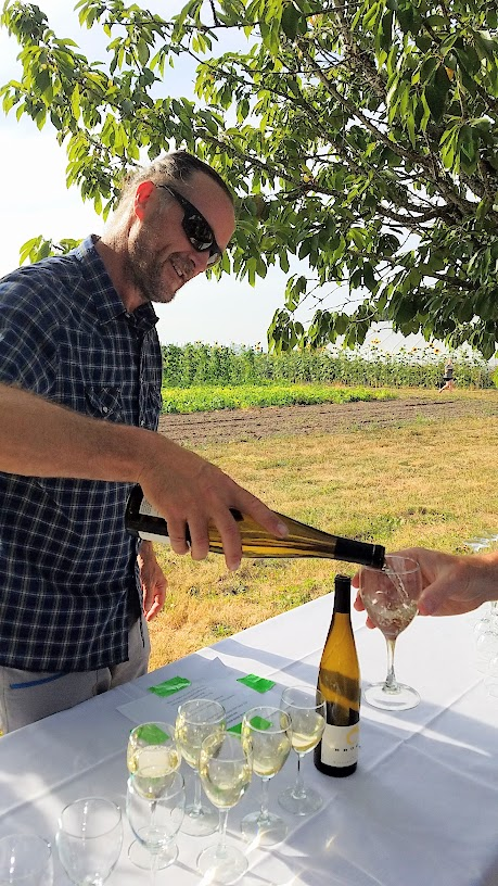 Plate and Pitchfork, bringing farm to table dinners during the summer in Portland where guests dine al fresco on farms: at this dinner the guest winemaker was Brooks Wines, here pouring 2015 Pinot Blanc