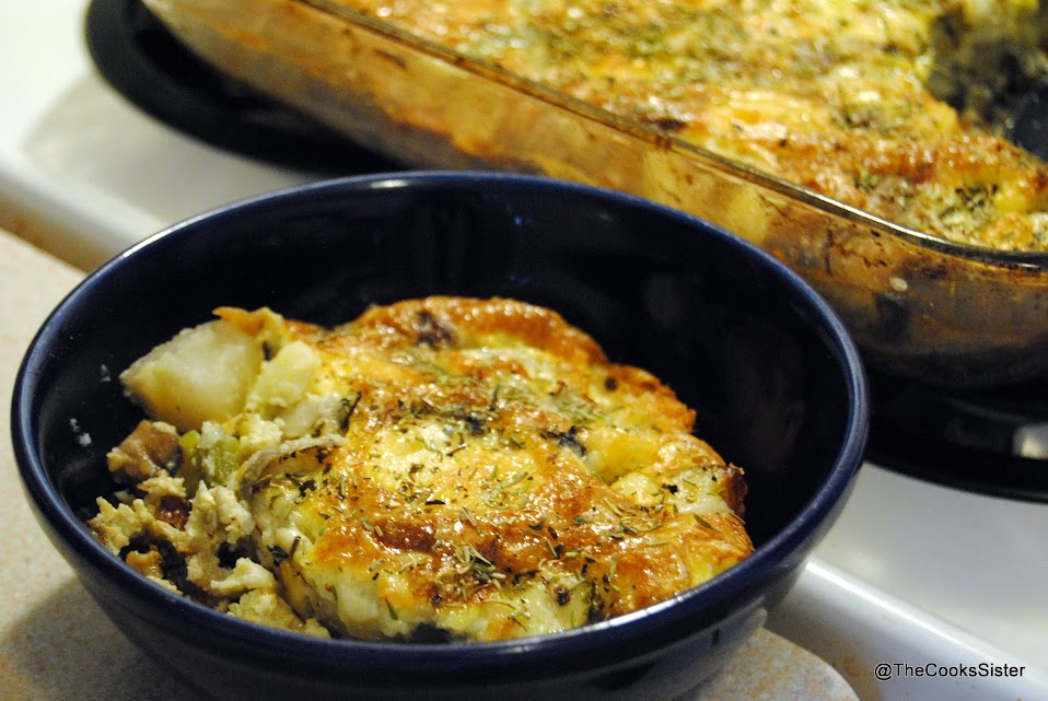single serving of egg bake with potatoes and mushrooms