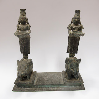 Asian Bronze Incense/Candle Holder