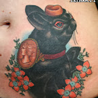 black rabbit - Stomach Tattoos Designs