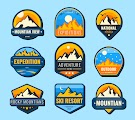 Snow Mountains Flat Labels Set Free Download Vector CDR, AI, EPS and PNG Formats