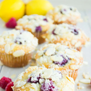 Lemon Raspberry Almond Crunch Muffins
