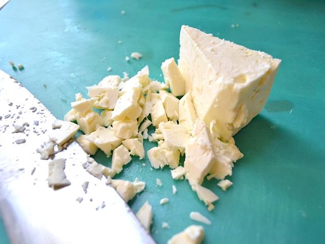cutting feta cheese