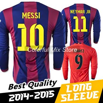Free Shipping 2015 MESSI NEYMAR JR SUAREZ Long Sleeve J