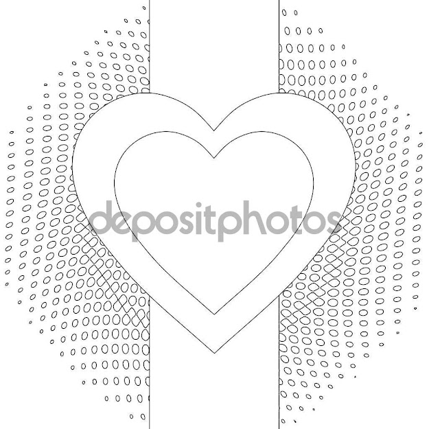 Abstract Heart Coloring Page  Stock Image