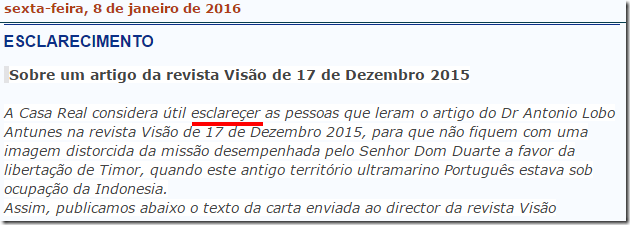 Família Real Portuguesa  ESCLARECIMENTO
