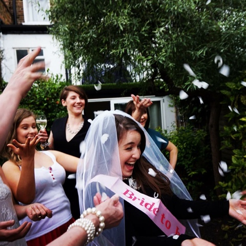 Confetti. Check. Friends. Check. Bride-to-be. Check.