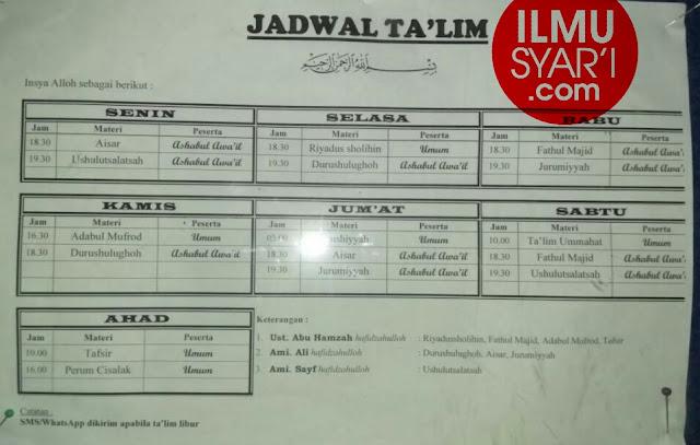 Informasi Jadwal Kajian Sunnah di Tasikmalaya