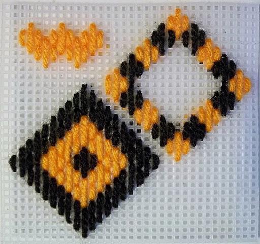 4-way bargello stitch sampler showing Hungarian stitch