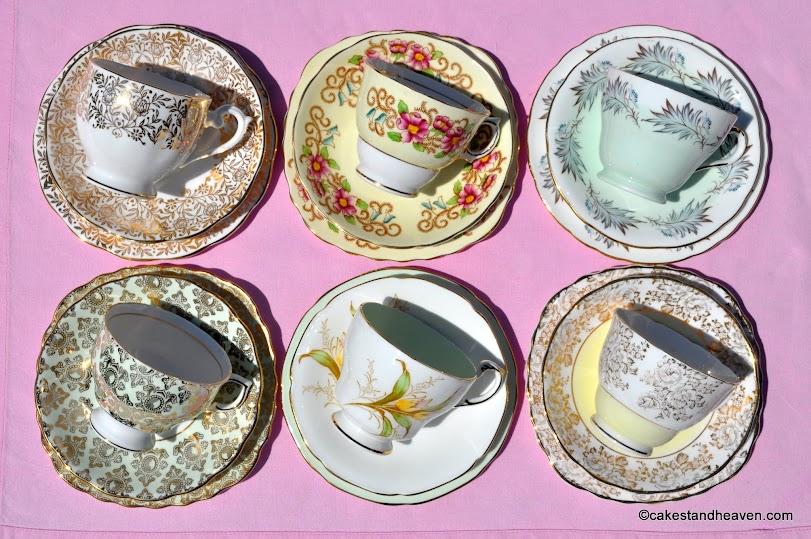 Vintage bone china green and yellow themed tea set