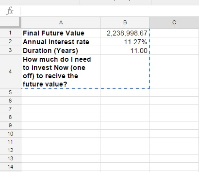 Formula to calculate the present value of an investment - Google - annual interest rate formula