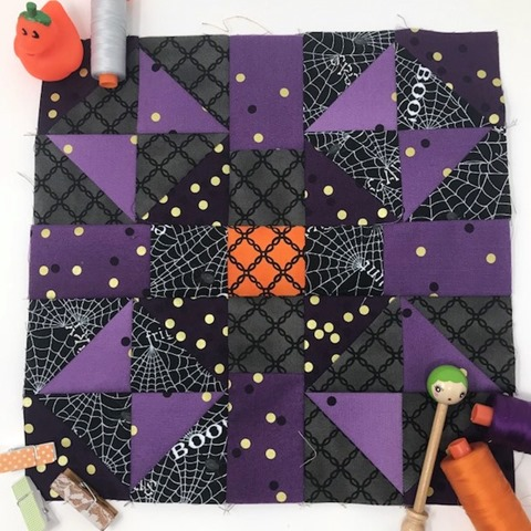 Cookies N Cream Quilt Block with Props by Kim Lapacek