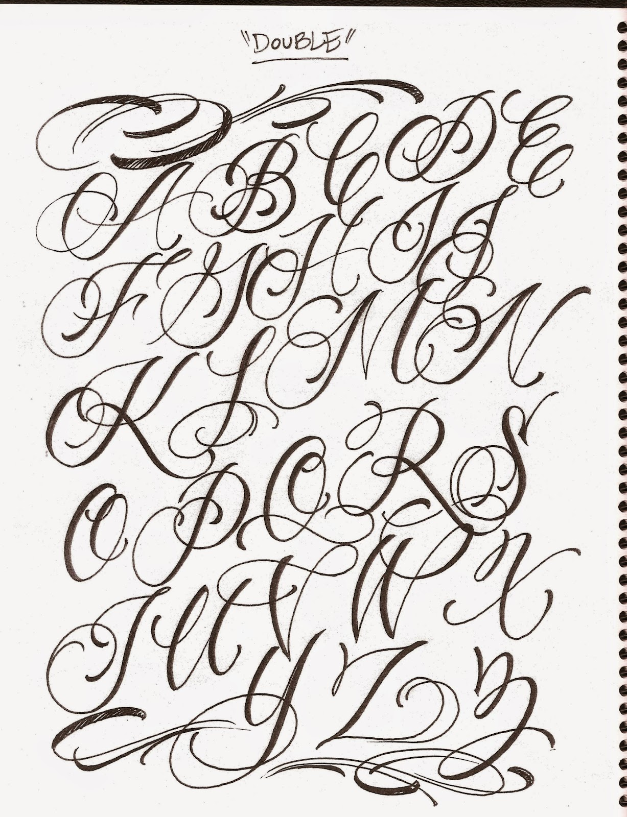 Calligraphy Fonts Alphabet For Tattoos Airbrush Lettering Font