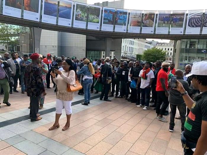 Biafra: IPOB members floods EU parliament, demands Referendum (See photos)